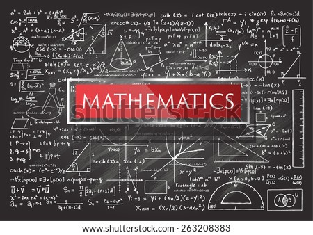 Hand drawn Mathematics on chalkboard.