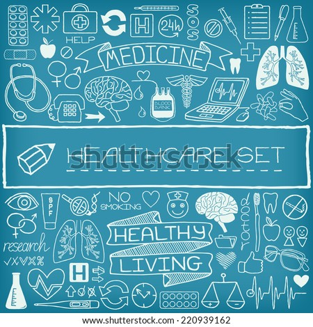 Hand drawn medical set of icons with medical and science tools, human organs, diagrams etc. Vector illustration.