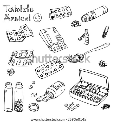 hand drawn medicine doodle