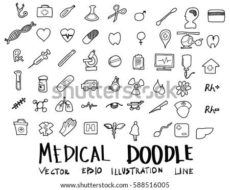 Hand drawn medicine icon set.