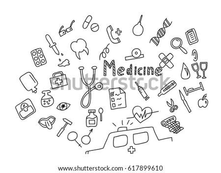 hand drawn medicine icon set