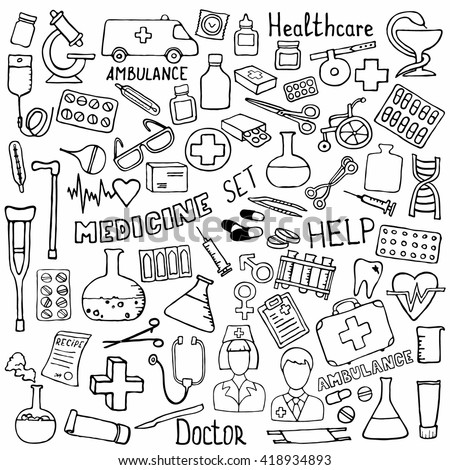 Hand drawn medicine icon set. Medical sketched collection. Healthcare, pharmacy doodle icons. Vector illustrations.