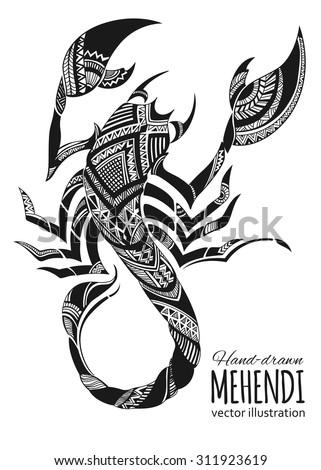 hand drawn mehendi scorpion