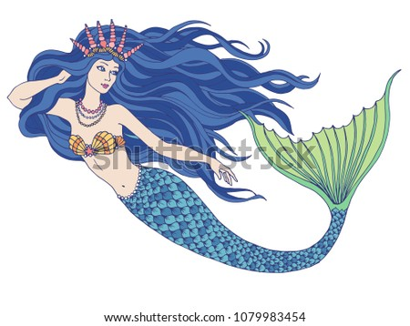Stock Photo Hand drawn mermaid holding a flower, isolated on white background, linen vector illustration.
