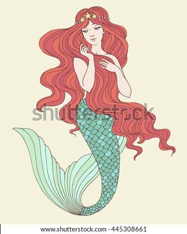 hand drawn mermaid  on white