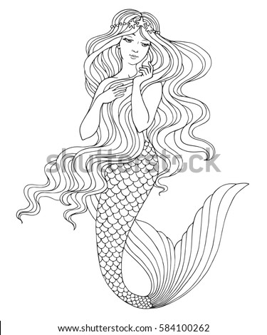 hand drawn mermaid  on white
