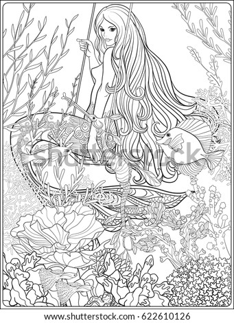 Hand Drawn Mermaid With Long Hair In Underwater World Stock Line Vector Illustration Outline