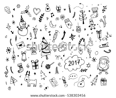 Hand drawn Merry Christmas doodle set with tree, santa, gift boxes, star elements. Winter and holiday themes object. Vector illustration.