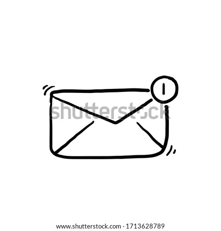 hand drawn Message and Mail line icons. doodle isolated background