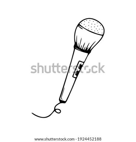 Hand drawn microphone isolated on a white background. Celebration elements. Doodle, simple outline illustration. It can be used for decoration of textile, paper. ストックフォト ©