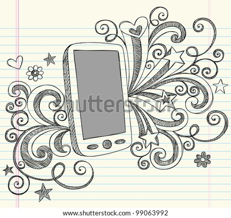 Hand-Drawn Mobile Cell Phone PDA Sketchy Notebook Doodles with Swirls, Hearts, and Shooting Stars- Vector Illustration Design Elements on Lined Sketchbook Paper Background