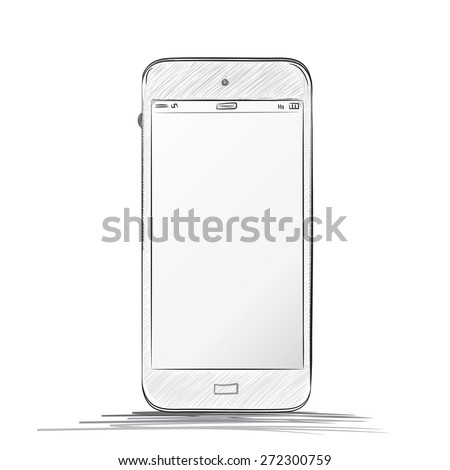 hand drawn  mobile phone vector