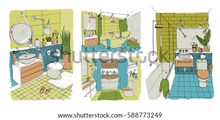 Hand Drawn Modern Bathroom And Toilet Interior Design Collection Colorful Vector Sketch Illustrations Set
