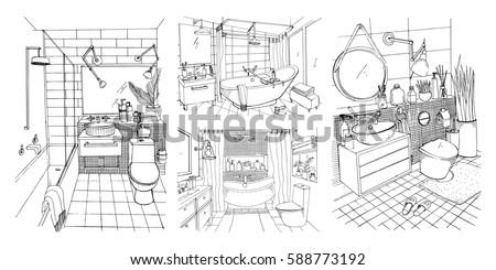 bathroom interior design sketches. Hand Drawn Modern Bathroom And Toilet Interior Design Collection. Contour Vector Sketch Illustrations Set. Sketches S