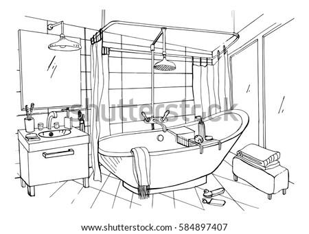 hand drawn modern bathroom