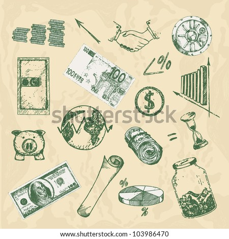 Hand-drawn money and finance set