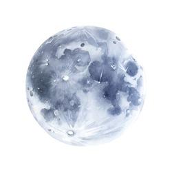 Hand drawn moon watercolor illustration.