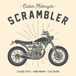 Hand drawn motorcycle ; scrambler, custom, classic, flat design, light ray & vector (3)