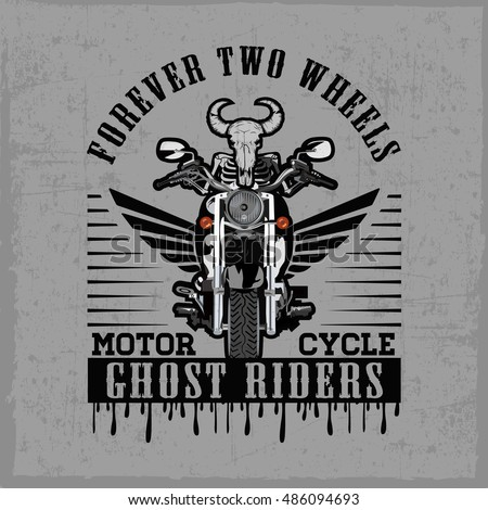 hand drawn motorcycle with the