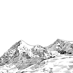 Hand drawn mountain backgrounds, vector illustration