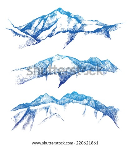 hand drawn mountain range set