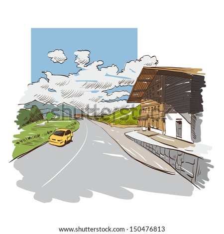 Hand drawn mountain road, vector illustration