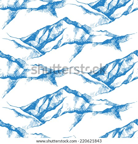hand drawn mountain seamless