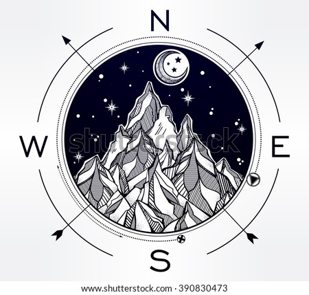 hand drawn mountain wind rose...