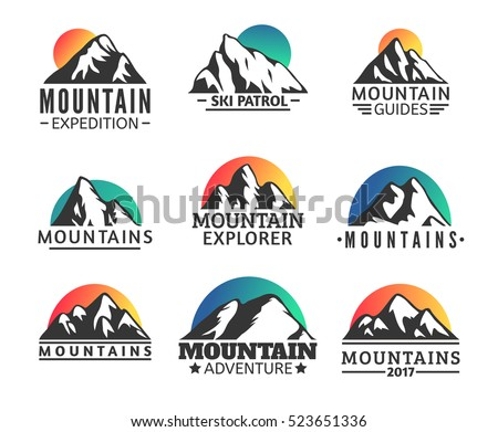 hand drawn mountains logo set