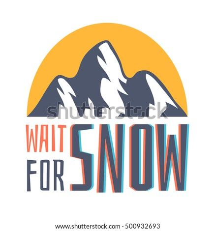 hand drawn mountains logo ski