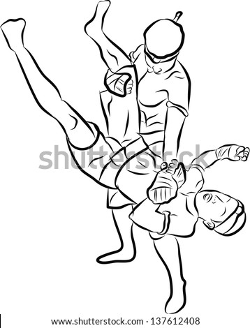 hand drawn muay thai boran