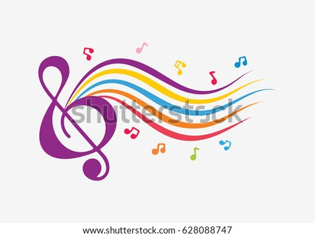 Hand drawn music color background.