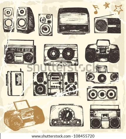 Hand drawn music equipment
