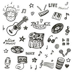 Hand drawn music icons set