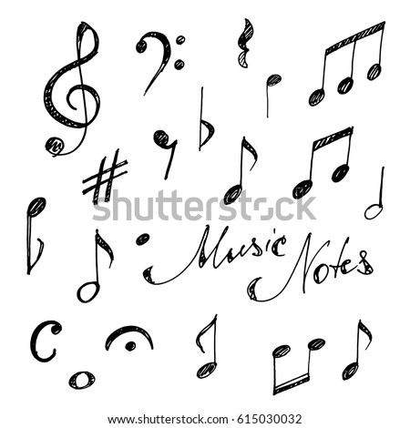 Hand drawn music notes set. Sketch, vector illustration.