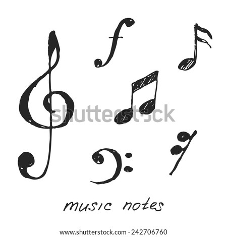 Hand-drawn music notes. Vector illustration.