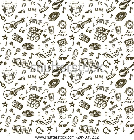 Hand drawn music seamless background