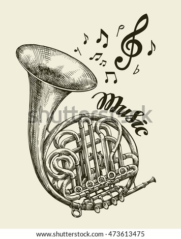 hand drawn musical french horn. ...