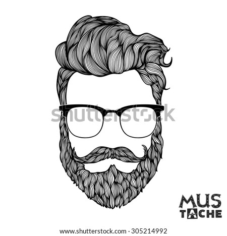 Hand Drawn Mustache Beard and Hair Style. Hipster curly hair man in glasses. Waxing hair design. Beard isolated. Man mouth isolated. Black and white illustration. Thinning hair concept. Vector.