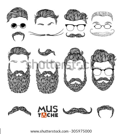 Hand Drawn Mustache Beard and Hair Style. Hipster curly hair man set. Waxing hair design.Beard set isolated. Man mouth isolated. Mouth mask . Vector illustration.