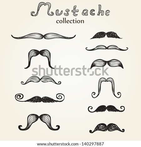 Hand drawn mustaches set eps8