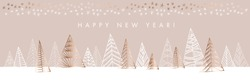Hand drawn naive Christmas tree horizontal design element for card, header, invitation. Gold sparkling sketch with xmas trees. Vector vintage luxury illustration
