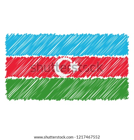 Hand Drawn National Flag Of Azerbaijan Isolated On A White Background. Vector Sketch Style Illustration. Unique Pattern Design For Brochures, Printed Materials, Logos, Independence Day