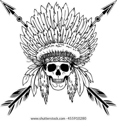 Hand Drawn Native American Indian Headdress With Human Skull