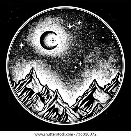 hand drawn nature night sky...