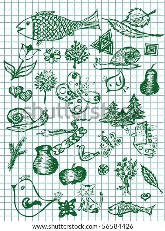 hand drawn nature symbols