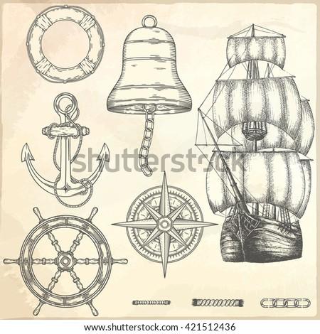 hand drawn nautical...