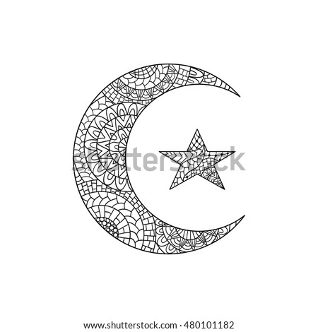 hand drawn new moon and star