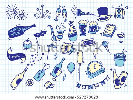 Hand drawn New Year doodle on paper background