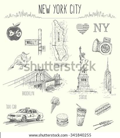 hand drawn new york city